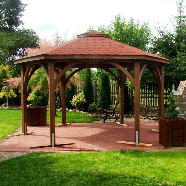 sechseckig pavillon mit rundbogen kopfb nder pavillon aus holz. Black Bedroom Furniture Sets. Home Design Ideas