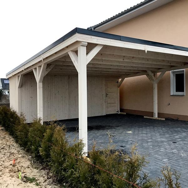 flachdach carport aus kvh mit wei er impr gnierung with carport wei