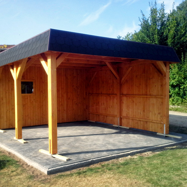 flachdach carport mit schuppen und seitenwand carport aus holz. Black Bedroom Furniture Sets. Home Design Ideas