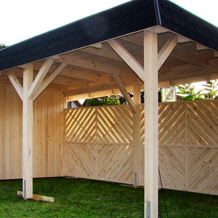 holzcarport mit lamellenzaun sichtschutz carpor anch mass. Black Bedroom Furniture Sets. Home Design Ideas