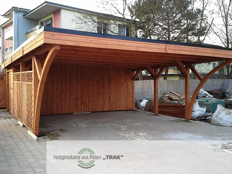 flachdach carport mit 2 gro e bogen holzprodukte aus polen. Black Bedroom Furniture Sets. Home Design Ideas